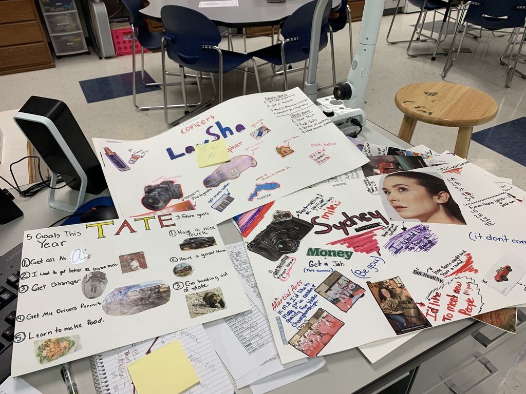 8th grade vision boards. Goals for 2020 and the future!
