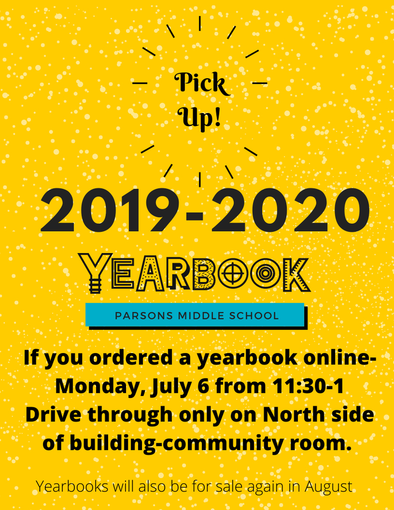 If you ordered a yearbook online- come pick it up today!